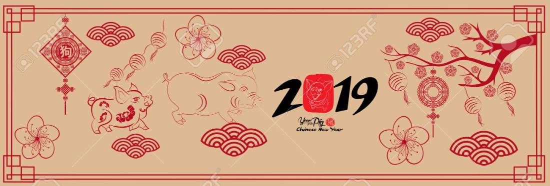 Happy new year, pig 2019, Chinese new year greetings, Year of pig